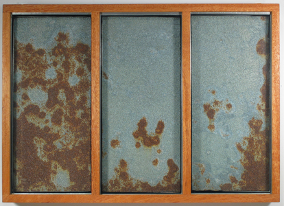 Paysages Rusted galvanized steel on plywood, frosted found glass panes; mahogany box