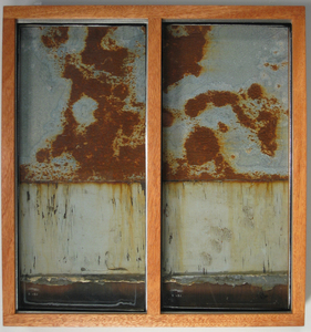 Paysages Found glass panes, rusted galvanized steel, found Mile End wood, plywood; mahogany box