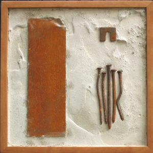 Imprints Cement, rusted steel, found objects on plywood; cherry frame