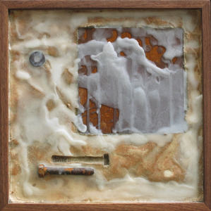 Imprints Cement, rusted steel, beeswax, found objects on plywood; dark walnut frame