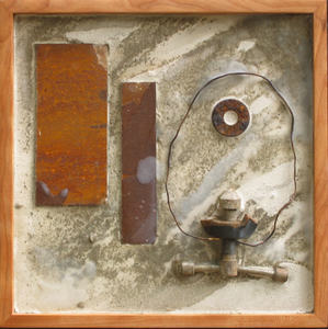 Imprints Cement, rusted steel, beeswax, found objects on plywood; birch frame