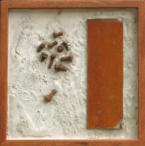 Imprints Cement, rusted steel, found objects on plywood; mahogany frame