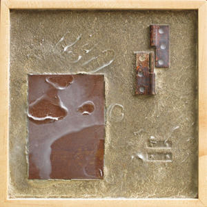 Imprints Cement, rusted steel, beeswax, found objects on plywood; maple frame