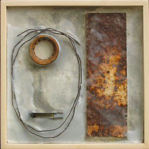 Imprints Cement, rusted steel, beeswax, found objects on plywood; poplar frame