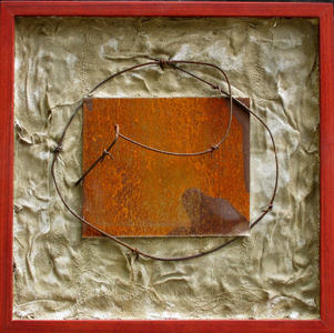Imprints Cement, rusted steel, beeswax, gauze, found objects on plywood; bloodwood frame
