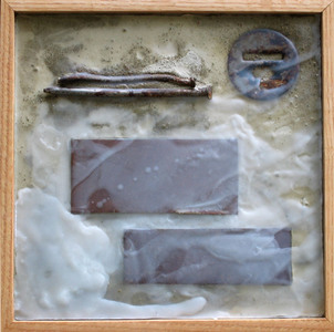 Imprints Cement, rusted steel, beeswax, found objects on plywood; oak frame