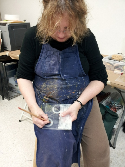 Images from Classes & Workshops working on a collagraph plate
