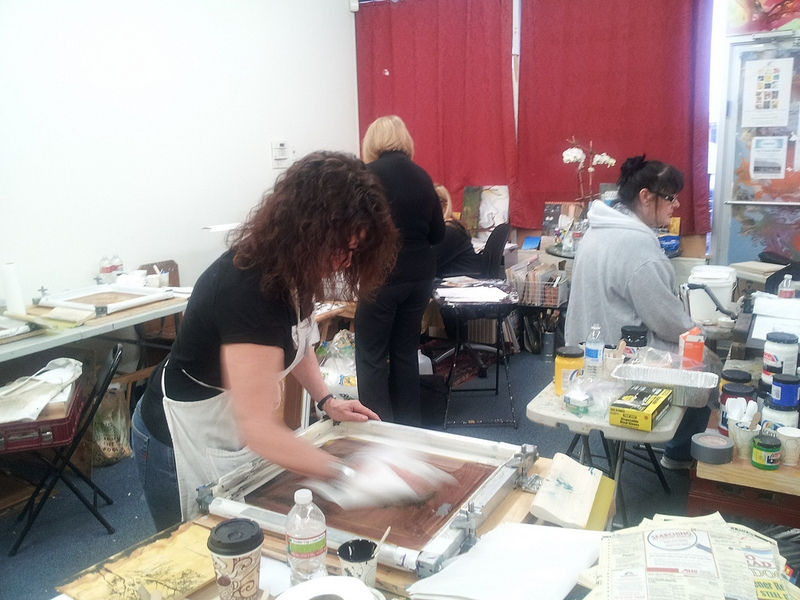 Images from Classes & Workshops preparing a silkscreen