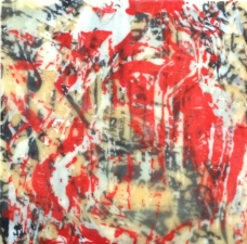 Gallery silkscreen on encaustic