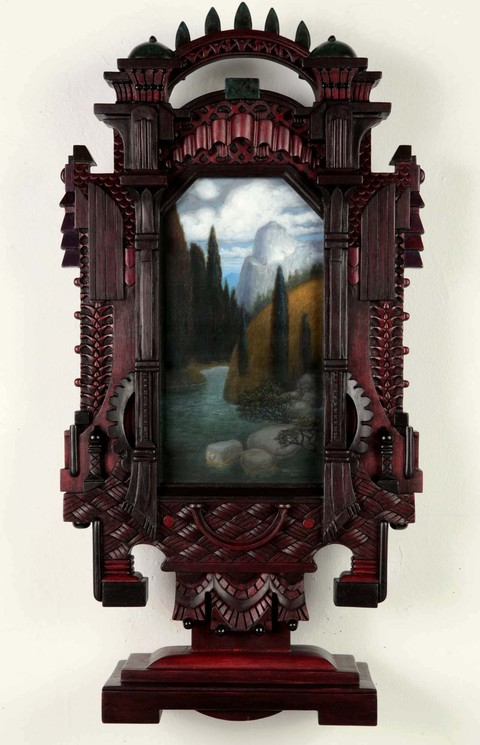 Holly Lane Carved Frame/Paintings Acrylic and carved wood