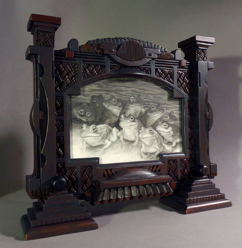 Holly Lane Carved Frame/Paintings Mixed Medium: Graphite on Mylar, carved wood