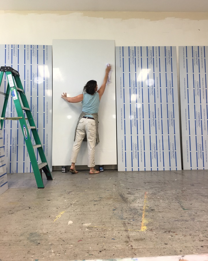 Hyannis Port Mural Prepping the aluminum panel- sanding