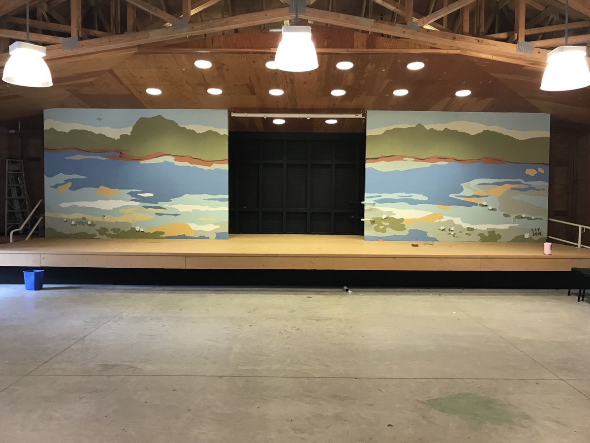 Camp Hayward Completed Mural, stage floor painting and backstage blackout