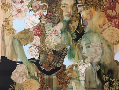 JACKIE REEVES MIXED MEDIA Collaged wallpaper, acrylic on birch panel