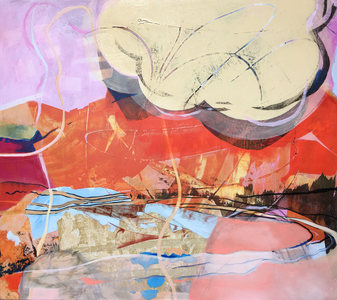 JACKIE REEVES MIXED MEDIA Oil and collage on panel
