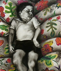 Jackie Skrzynski Children charcoal and colored pencil