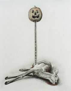 Jackie Skrzynski Deer Roadkill pencil and colored pencil