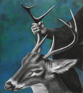 Jackie Skrzynski Trophy Shots charcoal and pastel on paper