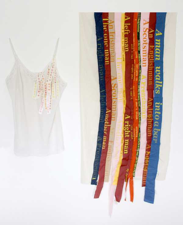Sculpture Singlet, screenprint, thread on silk and cotton, canvas