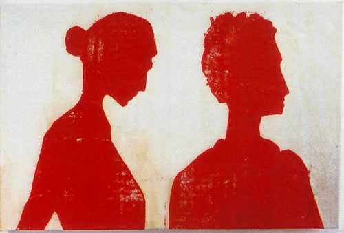 Photo Stencil Painting Right Man, Left Woman
