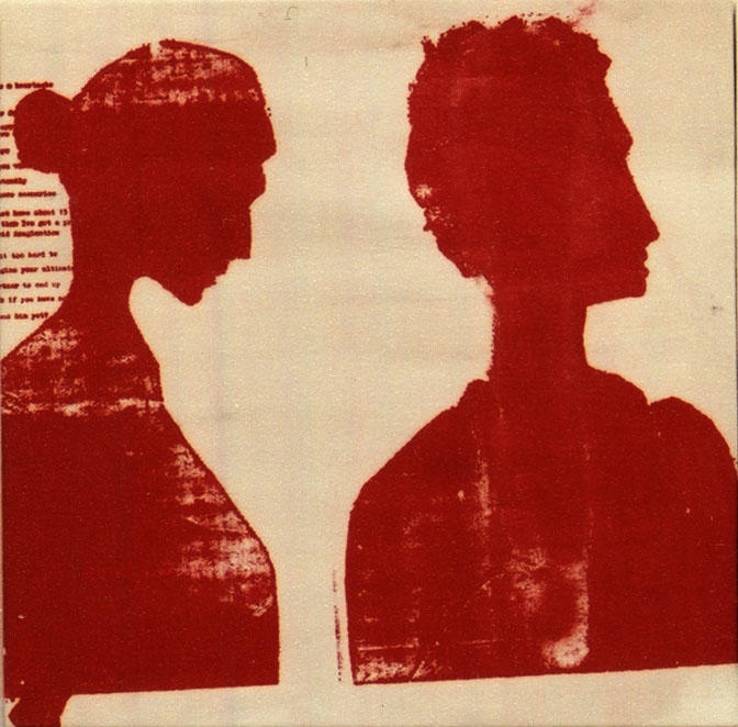 Photo Stencil Painting Right man, left woman (conversation)
