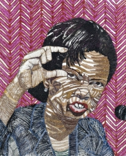 Jaime Scholnick Chuckles Series Acrylic and glitter on Mylar