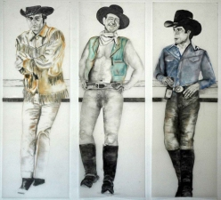 Jaime Scholnick John Wayne Series graphite and chalk on vellum