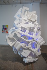 Jaime Scholnick Redesigned, Repurposed, Re-everythinged Flashe on poystyrene, LED'S