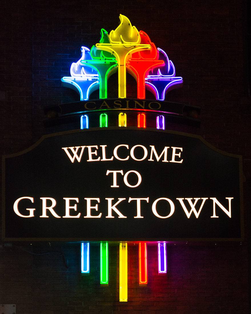 Neon Welcome to Greektown