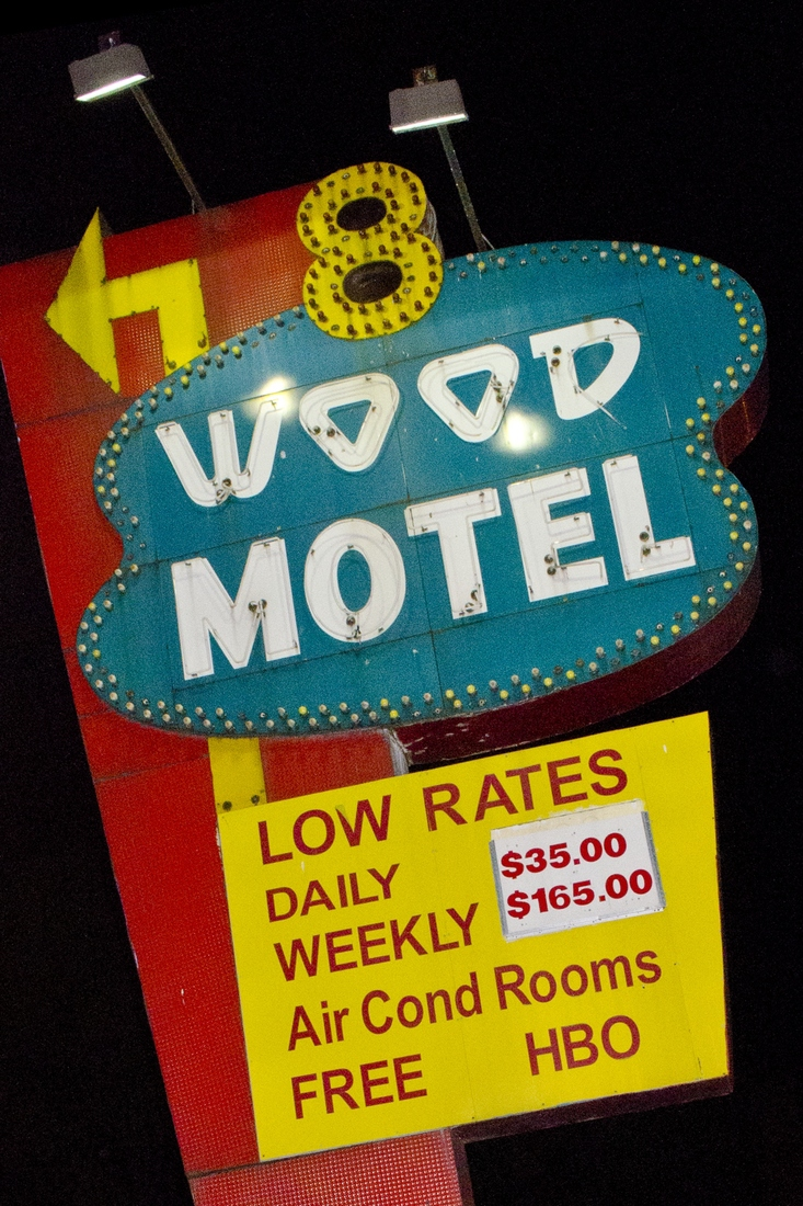 SALE 8-Wood Motel - Free HBO 12x18