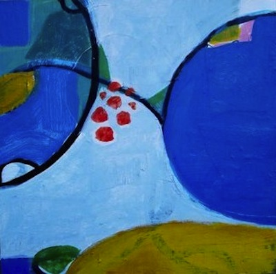 Jane Deering Gallery Exhibition: Blue arrived, and its time was painted Mixed media on panel