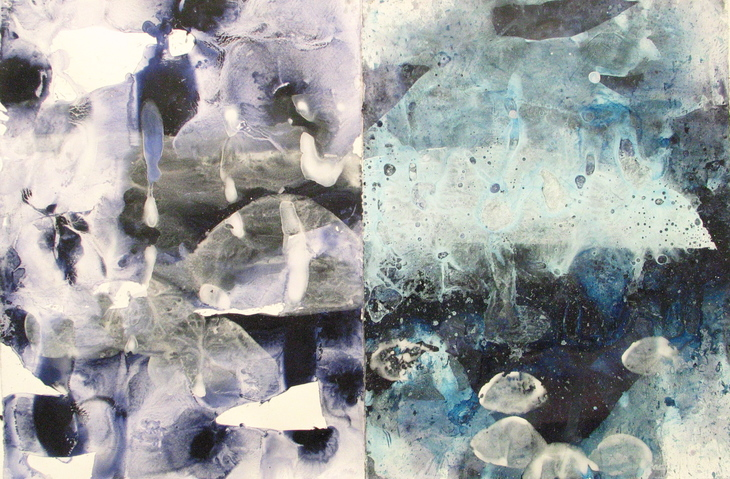 Jane Deering Gallery Exhibition: Blue arrived, and its time was painted Gouache and PVA on paper