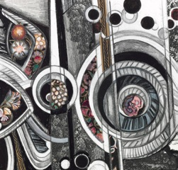 Jane Deering Gallery Exhibition: Beauty, the affordable Graphite, prismacolor, gouache, ink and cut paper on paper