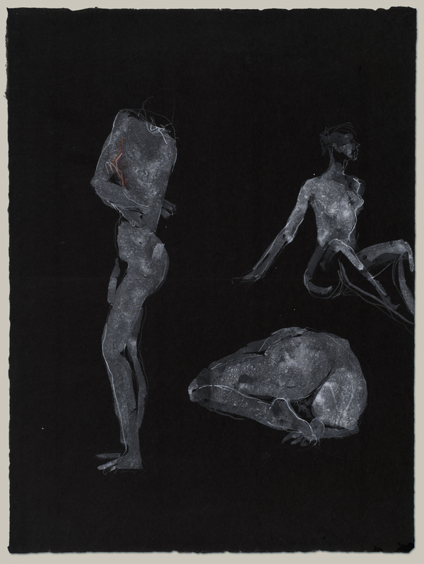 Jane Deering Gallery Selection of works White ink, with white pencil line additions, on dark blue Moriki paper