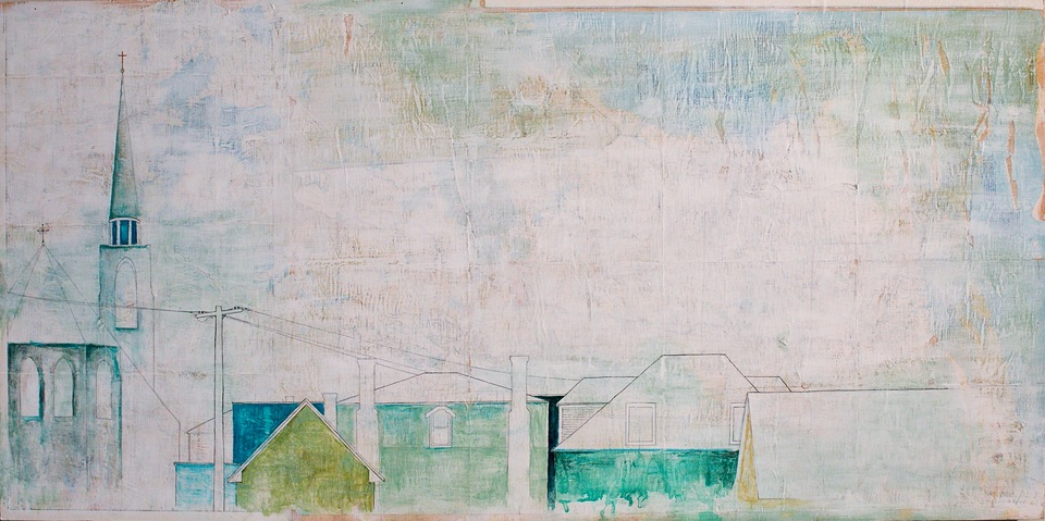 Jane Deering Gallery Erin Luman -- shelter | the cottages of long beach Acrylic, pencil and pen over map