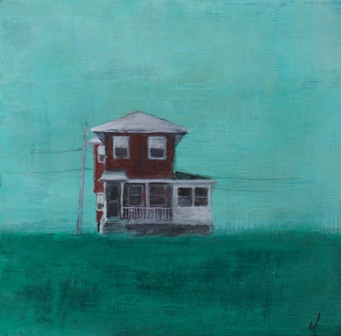 Jane Deering Gallery Erin Luman -- shelter | the cottages of long beach Acrylic and pencil