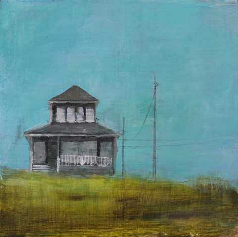 Jane Deering Gallery Erin Luman -- shelter | the cottages of long beach Acrylic and pencil over map