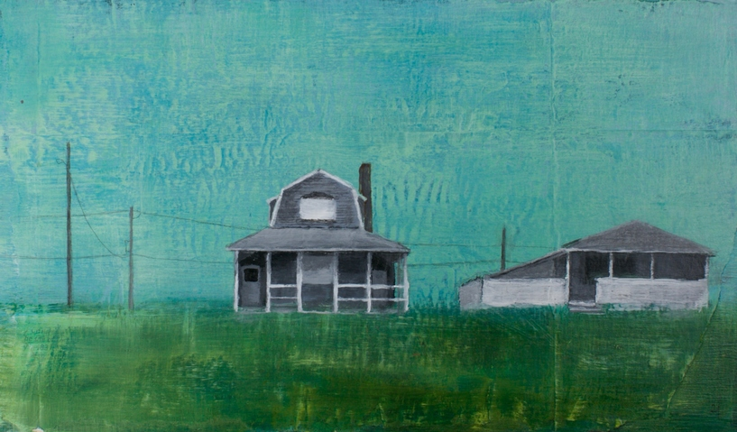 Jane Deering Gallery Erin Luman -- shelter | the cottages of long beach Acrylic and pencil over may
