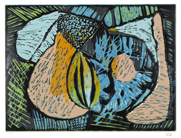 Jane Deering Gallery The Art of Geoffrey Bayliss  |  Harvest 9-color reductive linoleum print on Arches 88 paper