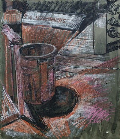 Jane Deering Gallery Jeffrey Marshall | Working the Waterfront Conté, pastel, and ink on paper