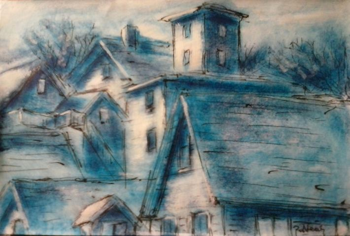 Paul Neily-- Gloucester Blue Pen, gouache and latex on paper