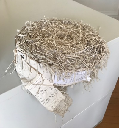 Jane Deering Gallery Gail Barker | Art as Process Paper receipts, linen thread