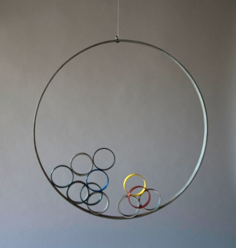 Jane Deering Gallery Alice Hutchins Large steel ring, painted rings, Alnico magents