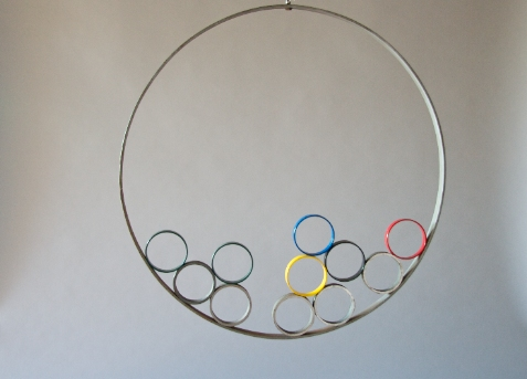 Jane Deering Gallery Selection of works Large steel ring, painted rings, Alnico magnets