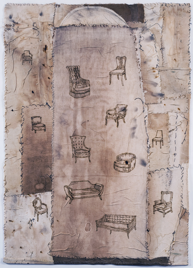 Jane Deering Gallery Selection of works Pyrography, thread on vintage ironing board cover