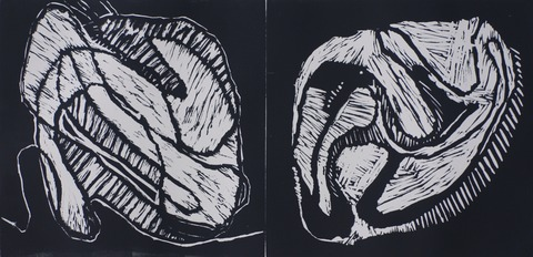Jane Deering Gallery Geoffrey Bayliss Linocut print (black ink). Printed on Magnani Revere Silk paper.