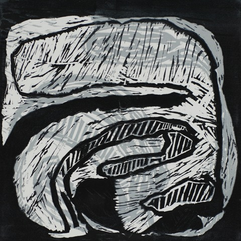 Jane Deering Gallery Geoffrey Bayliss Linocut print (black ink over grey). Printed on Rives BFK paper.
