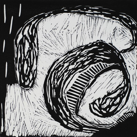 Jane Deering Gallery Geoffrey Bayliss Linocut print (black ink). Printed on Magnani Revere Silk paper