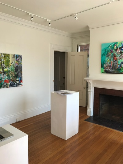 Jane Deering Gallery Exhibitions Installation shot: Left -- 'Can't See the Forest for the Trees' . Right -- 'Silent Stirrings'