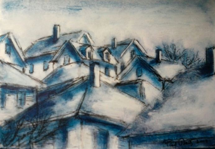 Paul Neily-- Gloucester Blue Rooftops looking up Herrick Court